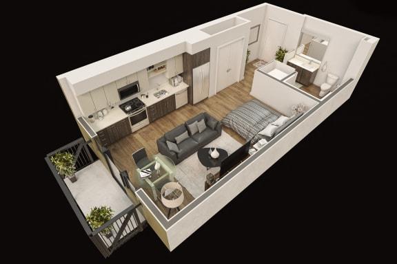Floor Plan  Gordon Lofts Studio 3d Floorplan