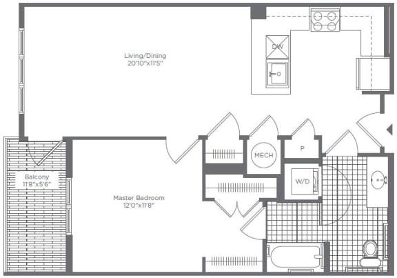 Floor Plan  1BR 1 BA