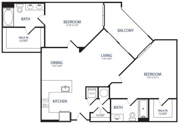 Floor Plan  2BR 2BA