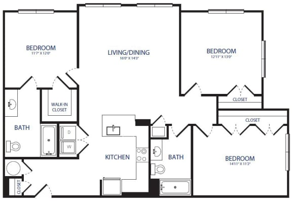 Floor Plan  3BR 2BA
