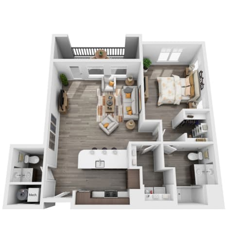 Floor Plan  1 bedroom 3D floorplan