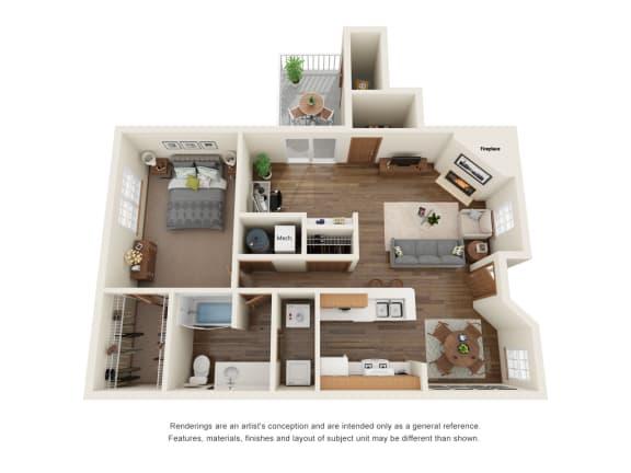 Floor Plan  One bedroom one bath apartment floor plan layout
