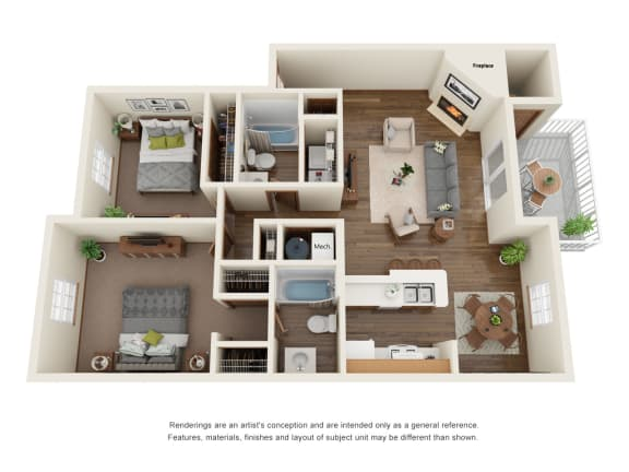 Floor Plan  Two bedroom apartment floorplan layout