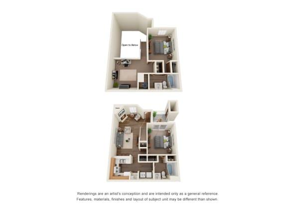 Floor Plan  Two bedroom two bath townhome floorplan layout