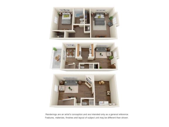Floor Plan  Two bedroom townhome floorplan with basement