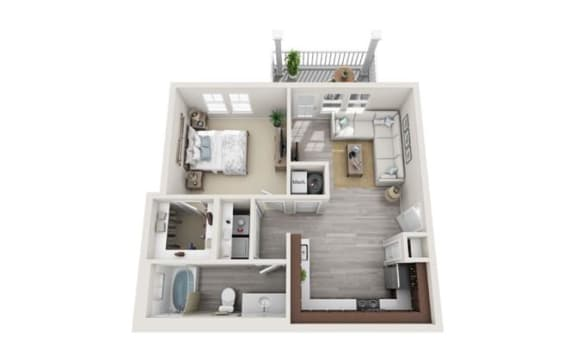 Floor Plan  A1 1-bedroom/1-bathroom 3D floor plan layout with 717 square feet at The Station at Poplar Tent apartments for rent in Concord, NC