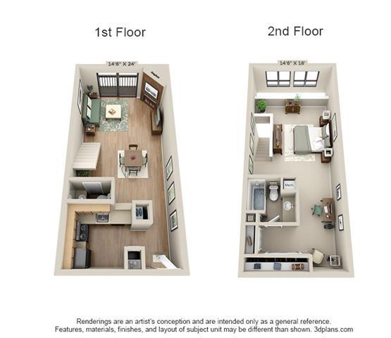 Floor Plan  1 Bed, 1.5 Bath