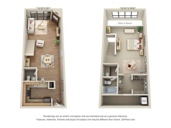 Floor Plan  1 bed 1.5 bath