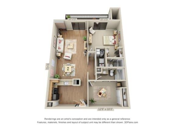 Floor Plan  1 Bed, 2 Bath