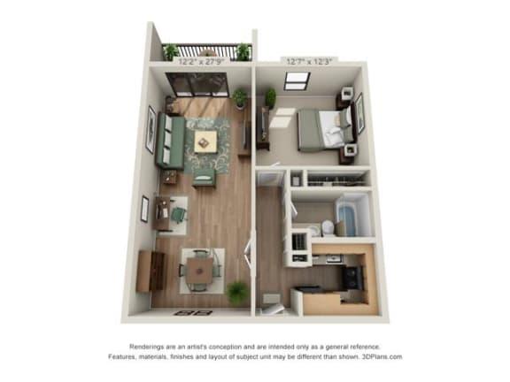 Floor Plan  1 Bedroom Garden