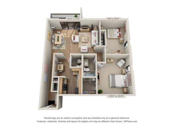 Floor Plan  2 Bed, 1.5 Bath
