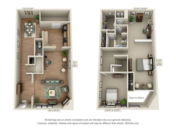 Floor Plan  2 bed 1.5 bath