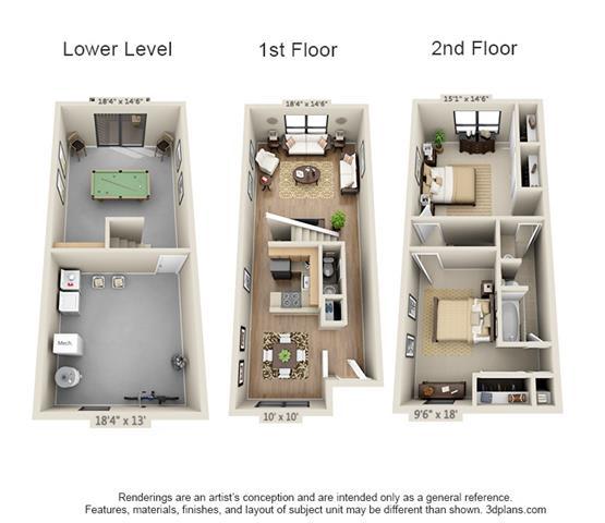 Floor Plan  2 Bed, 1.5 Bath TH