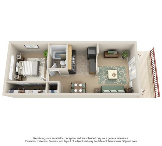 Floor Plan  1 Bedroom
