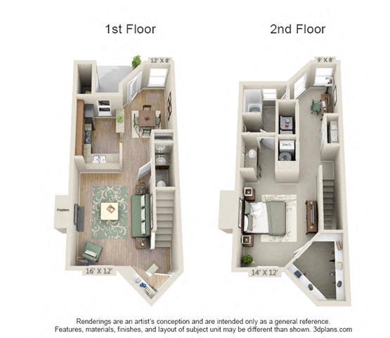 Floor Plan  1 Bed/1.5 Bath