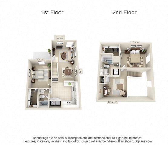 Floor Plan  2 Bed/2 Bath A