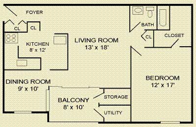 Floor Plan  1 Bed 1 Bath Floor Plan at The Commons of McLean, McLean, VA, 22102