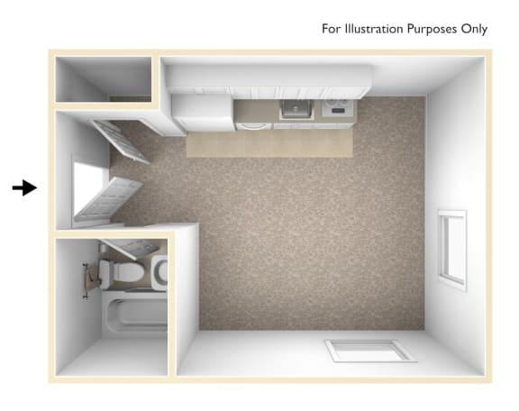 Floor Plan  Studio 3D Unfurnished Floorplan_Chancellor Apartments Los Angeles, CA
