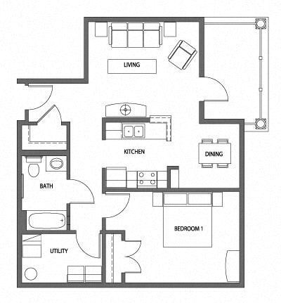 Floor Plan  1 Bedroom 1 Bath 2D Floorplan-Heritage Park Apartments, Minneapolis, MN