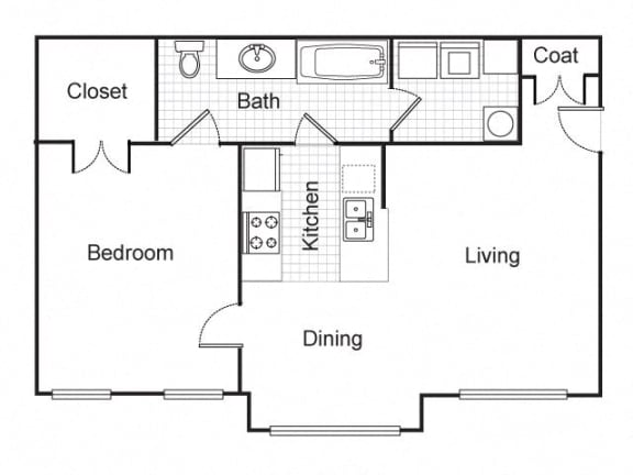 Floor Plan  1 bedroom 1 bath 2D floorplan-Longfellow Heights Apartments,Kansas City, MO