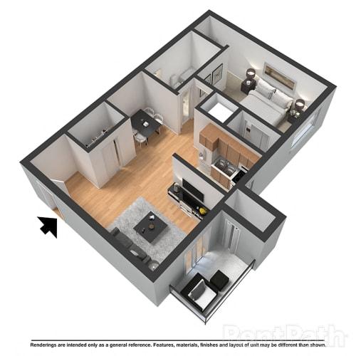 Floor Plan  1 Bedroom 1 Bathroom Floor Plan at Arlington Park at Wildwood, Marietta