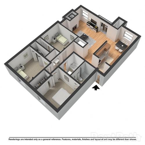 Floor Plan  3 Bed 2 Bath Floor Plan at Arlington Park at Wildwood, Marietta, GA, 30067