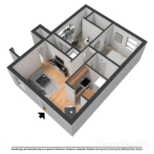 Floor Plan  2 Bedroom 1 Bathroom Floor Plan at Arlington Park at Wildwood, Georgia, 30067