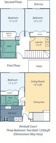 Floor Plan  Three Bed Two Bath Kimball III