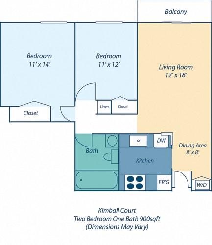 Floor Plan  Two Bed One Bath Kimball II