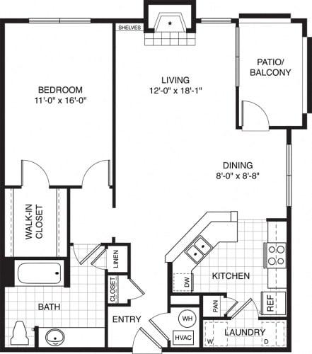 Floor Plan  2 Bedroom Apartments for Rent in West Suburbs