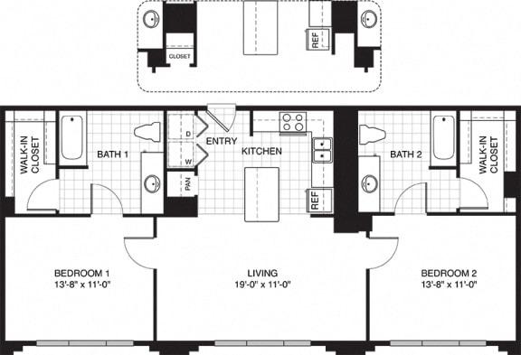 Floor Plan  1 Bedroom Apartments for Rent in Villa Park, IL