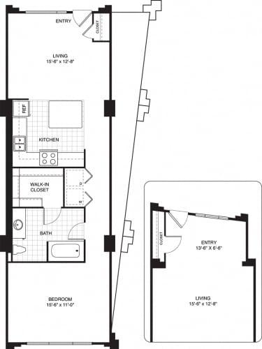 Floor Plan  1 bed 1 bath apartments for rent in Villa Park, IL