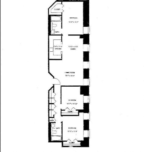 Floor Plan  Mass Mills I 3BR/2BA