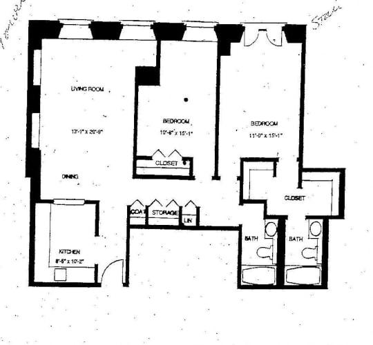 Floor Plan  Mass Mills I 2BR/2BA