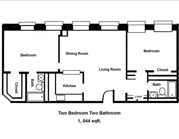 Floor Plan  Mass Mills II 2BR/2BA