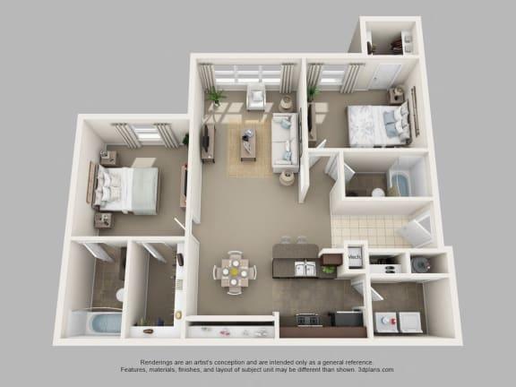Floor Plan  2 Bedroom + 2 Bath