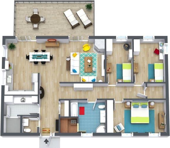 Floor Plan  3 Bedroom + 2 Bath