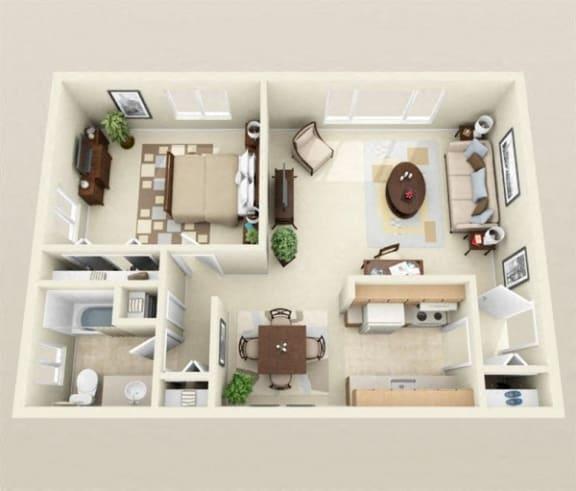 Floor Plan  1Bedroom + 1 Bath