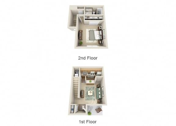 Floor Plan  The Azalea One Bedroom One Bathroom Townhome Floor Plan