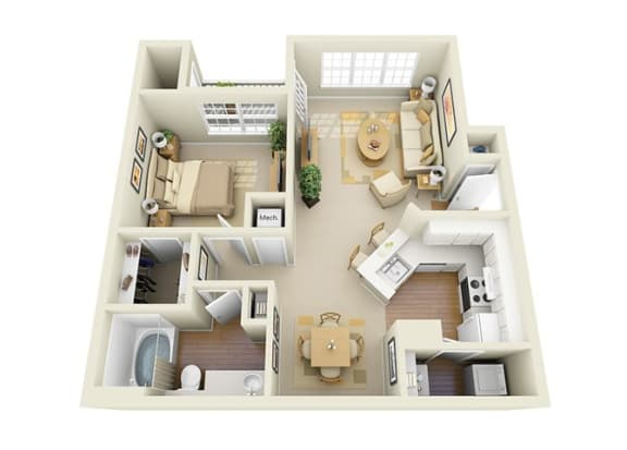 Floor Plan  1 Bedroom 1 Bathroom Floor Plan at Glen Park Apartments