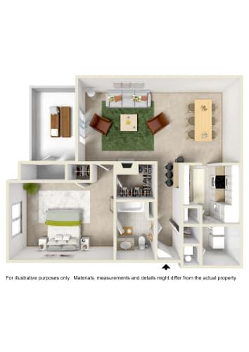 Floor Plan  1 Bed 1 Bath Floor Plan at Crestview at Oakleigh, Pensacola, 32514