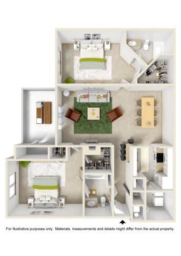 Floor Plan  2 Bed 2 Bath Floor Plan at Kings Mill, Pensacola, FL, 32514