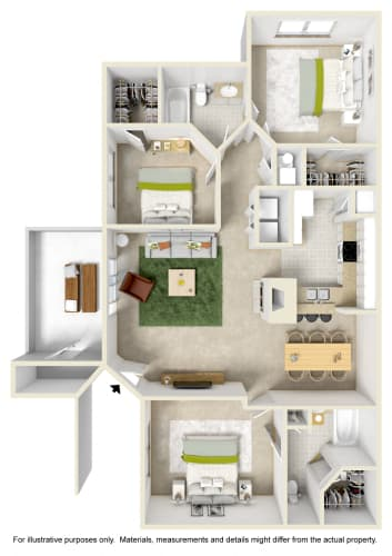 Floor Plan  3 Bedroom 2 Bath Floor Plan at Kings Mill, Pensacola, FL