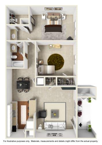 Floor Plan  2 Bedroom 1 Bathroom Floor Plan at Crestview at Cordova, Florida