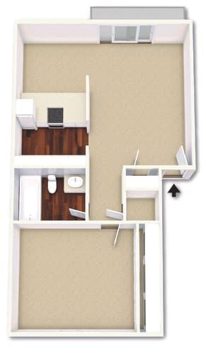 Floor Plan  1 Bed 1 Bath Floor Plan at Cordova Regency, Pensacola, FL, 32503