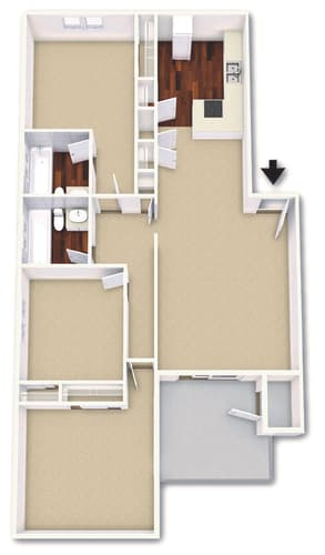 Floor Plan  3 Bed 2 Bath Floor Plan at Cordova Regency, Pensacola, FL
