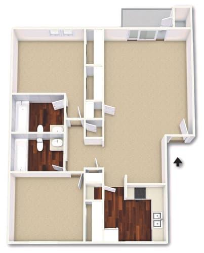 Floor Plan  2 Bed 2 Bath Floor Plan at Cordova Regency, Pensacola, 32503