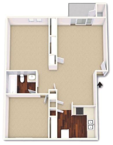 Floor Plan  2 Bedroom 1 Bathroom Floor Plan at Cordova Regency, Pensacola, Florida