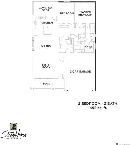Floor Plan  2-Bed 2-Bath