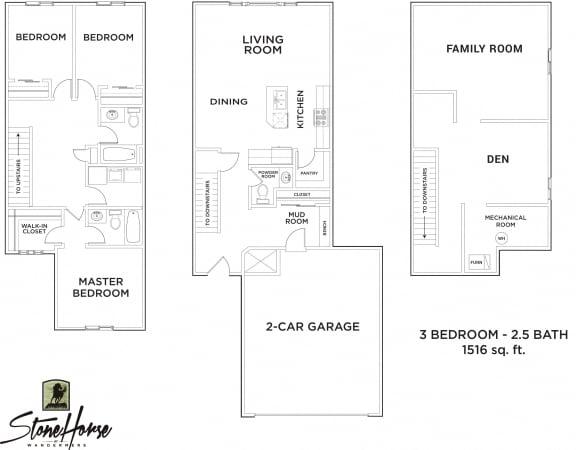 Floor Plan  3-Bed 2.5-Bath